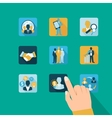 Hand business and management icons vector image