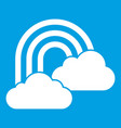 rainbow and clouds icon white vector image