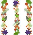 seamless border of mushrooms and herbs vector image