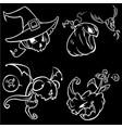set of funny halloween jack o lanterns vector image