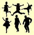 teenager and old people jumping silhouette vector image
