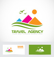 Tourism travel agency mountain logo vector image