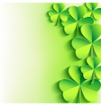 St Patricks day background with green leaf clover vector image