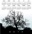 2014 Light Blue Tree Calendar vector image