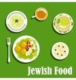Kosher dishes of jewish cuisine1 vector image