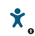 Boy icon Small happy little kid blue silhouette vector image