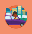 angry african woman in car stuck in traffic jam vector image