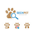 set of paw logo combination pet and magnifying vector image