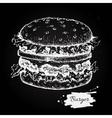 vintage burger chalkboard drawing Hand vector image