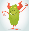 Happy cartoon green and fluffy monster vector image