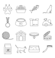 Cat care tools icons set outline style vector image