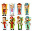 cartoon sportsmen players characters set vector image