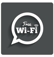Free wi-fi icon Wifi speech bubble Wireless zone vector image