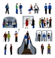 Subway passengers flat icons collection vector image