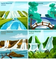 Waterfall Landscapes 2x2 Design Concept vector image