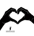 Hands in heart form detailed black and white vector image