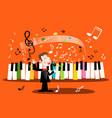 man singing song with piano keyboard and notes vector image