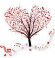 tree music heart vector image