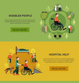 two disabled person banner set vector image