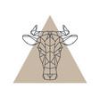 geometric cow head animal icon vector image