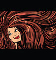 joyful woman background with long hair right vector image