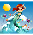 A big wave with a mermaid and a school of fishes vector image