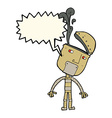 cartoon robot with open head with speech bubble vector image