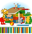 animals built house out of baby blocks vector image