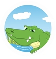 Crocodile on circle vector image