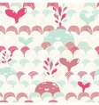 Cute cartoon whale and waves seamless pattern vector image
