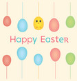 easter bunnies chicken and easter eggs vector image