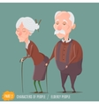 Elderly woman and man walking with sticks vector image