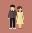 Couple of young people in flat style vector image