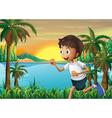 A boy jogging near the river vector image vector image