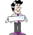 cartoon of a businessman there is holding a sign
