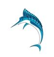 Jumping blue marlin fish character vector image