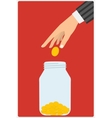 hand throwing a glass jar vector image