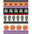 halloween pattern with spider rip grave coffin vector image