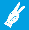 hand showing victory sign icon white vector image