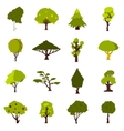 Green tree icons set flat style vector image