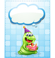 A green monster with a cake thinking vector image vector image