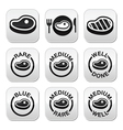 Steak - medium rare well done grilled buttons s vector image