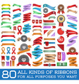 Big Set of Colorful Ribbons and Labels in Retro vector image