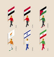 isometric people with flags of gulf countries vector image