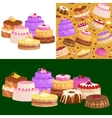 Sweets cakes with different stuffing chocolate vector image