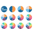 Pie charts for infographics Diagrams with 1 - 12 vector image
