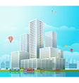 Modern cityscape Office buildings and diffe vector image