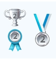 Set silver medals and awards trophy vector image