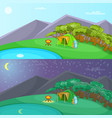 camping banner set horizontal cartoon style vector image