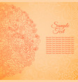 floral card orange colored sample text vector image